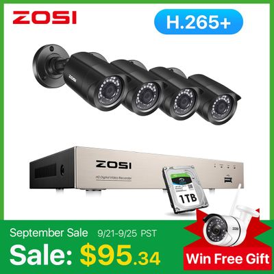ZOSI H.265+ 8CH CCTV System 4PCS 1080p Outdoor Weatherproof Security Camera DVR Kit Day/Night Home Video Surveillance System