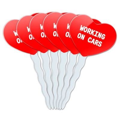 Working On Cars Heart Love Cupcake Picks Toppers - Set of 6