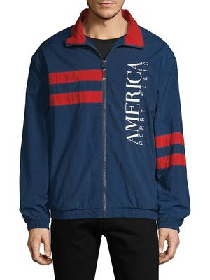 Perry Ellis America Embroidered Striped Track Jacket