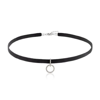 Ross-Simons Diamond Open Circle and Black Velvet Choker Necklace in Sterling Silver