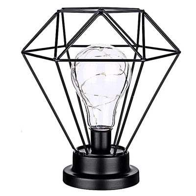 Iron Battery Powered Retro LED Table Lamp Home Bedroom Light Fixture Decoration