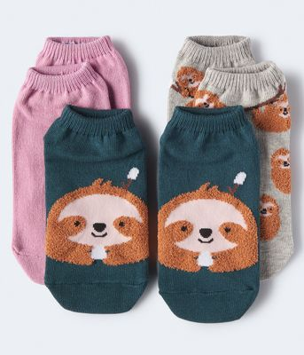 Aeropostale Fuzzy Sloth Ankle Sock 3-Pack