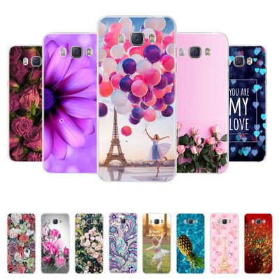 For Funda Samsung Galaxy J5 2016 Case J510 J510F Cover Flowers Painted Back Protective Phone Case For Coque Samsung J5 2016 Case