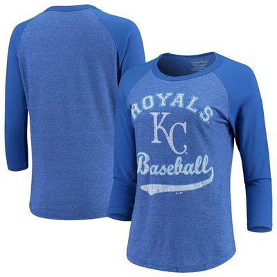 Kansas City Royals Majestic Threads Women's Team Baseball Three-Quarter Raglan Sleeve Tri-Blend T-Shirt - Royal