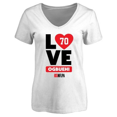Cedric Ogbuehi Fanatics Branded Women's I Heart V-Neck T-Shirt - White