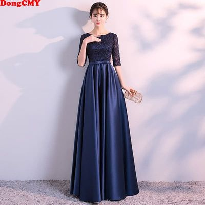 DongCMY New 2020 Long Formal Evening Dresses Elegant Lace Satin Navy Blue Vestidos Women Party Gown