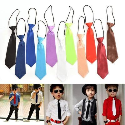 Childrens Boys Adjustable Neck Tie Satin elastic Necktie High Quality Solid tie Clothing Accessories
