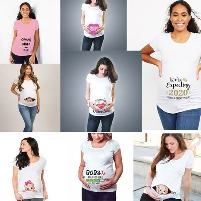 2020 Loading Women Maternity Short Sleeve Tops T-shirt Pregnancy Funny Clothes for Pregnant Maternity Hot Sale T-shirt Drop Ship