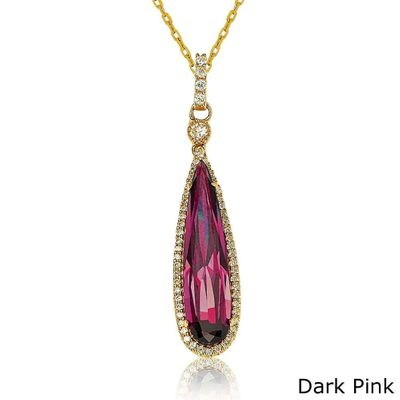 Suzy Levian Gold tone Sterling Silver Elongated Pear-cut Cubic Zirconia Necklace