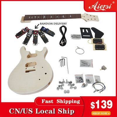Aiersi Unfinished DIY Custom 24 SE PRS Electric Guitar Kits With All Hardwares and Instruction BookEK-010