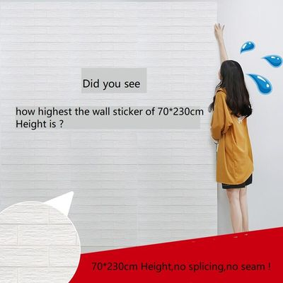 70*230cm  DIY Self Adhensive 3D Brick Wall Stickers LivingRm Decor Foam Waterproof Wall Covering For Kids Rm TV Background-W002
