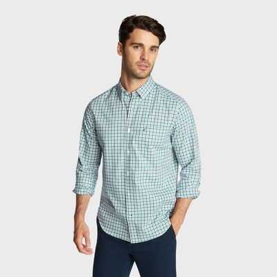 Nautica Classic Fit Wrinkle Resistant Shirt In Mini Plaid
