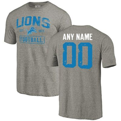 Detroit Lions NFL Pro Line by Fanatics Branded Distressed Personalized Tri-Blend T-Shirt - Gray