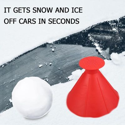 Auto Car Magic Window Windshield Car Ice Scraper Shaped Funnel Snow Remover Deicer Cone Deicing Shovel Tool Scraping ONE Round