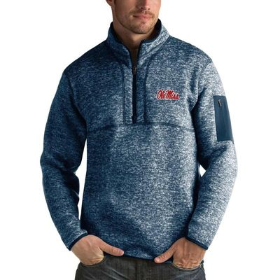 Ole Miss Rebels Antigua Fortune 1/2-Zip Pullover Sweater - Heathered Navy