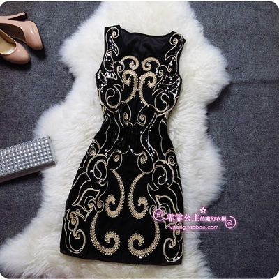 Embroidery sequin plus size sexy vintage elegant cheap short women black summer Cocktail Dresses Coctail Dress Party Dresses