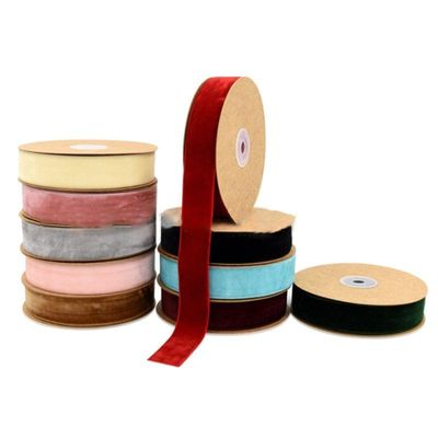 25mm Solid Color Handmade Velvet Ribbon DIY Craft Appliques Sewing for Gift Wrapping Bow Making Hair Clip Accessories