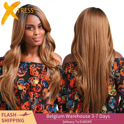 Ombre Brown Blonde Color Lace Part Wigs With Bangs X-TRESS Synthetic Hair Wig For Black Women Long Straight Middle/Side Part Wig