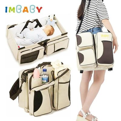 IMBABY Baby Travel Crib Baby Bag And Bed Portable Crib Baby Carry Cot With 5 Pockets Multifunction Mummy Bag Baby Travel Bed