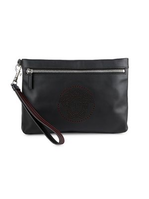 Versace Perforated Logo Leather Pouch