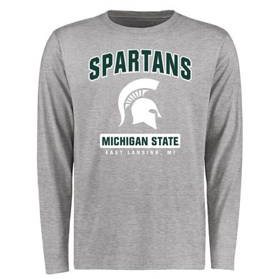 Michigan State Spartans Big & Tall Campus Icon Long Sleeve T-Shirt - Ash