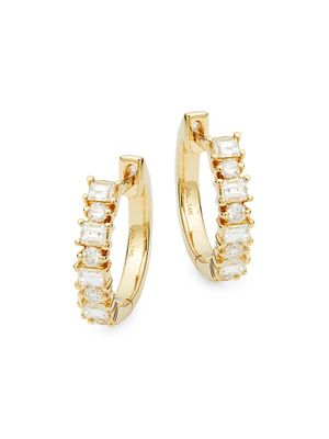 Saks Fifth Avenue 14K Yellow Gold Diamond Huggie Hoop Earrings