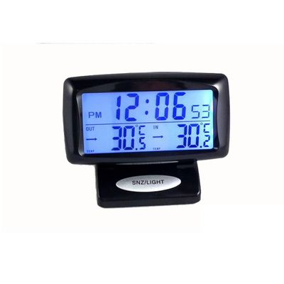 Vehicle Thermometer with Clock Temperature Measuring Tool Car Kits Electronic Watch Digital Display Clock Thermometers Autos
