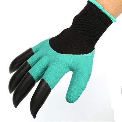 1 pair Latex garden gloves with 4 claws Excavated Insulated Household Flower Gloves Digging Planting Gardening Work guantes