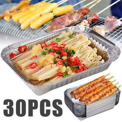 Mayitr 30pc Disposable BBQ Drip Pans Aluminum Foil Grease Pans Recyclable Grill Catch Tray For Home Outdoor Barbecue Accessories