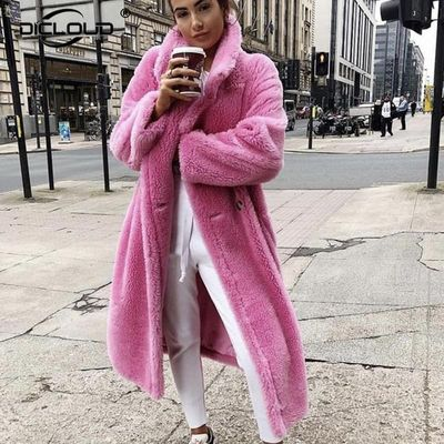Pink Long Teddy Bear Jacket Coat Women Winter 2020 Thick Warm Oversized Chunky Outerwear Overcoat Women Faux Lambswool Fur Coats