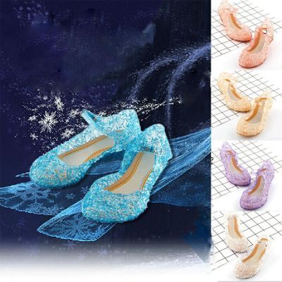 2021 New Kids Girls Crystal Jelly Sandals Princess Blue Cosplay Party Dance Shoes