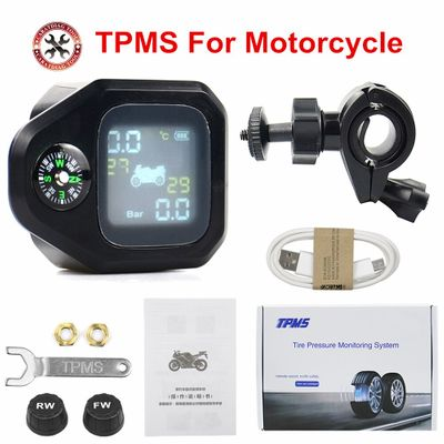 Highly Accurate USB Solar Charging Motorcycle TPMS Motor Tire Pressure Tyre Temperature Monitoring Alarm System 2 Sensors