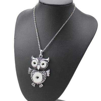 New Fashion Owl Pendant Necklaces 18mm Snap Buttons Interchangeable Retro Charms Necklaces For Men Jewelry