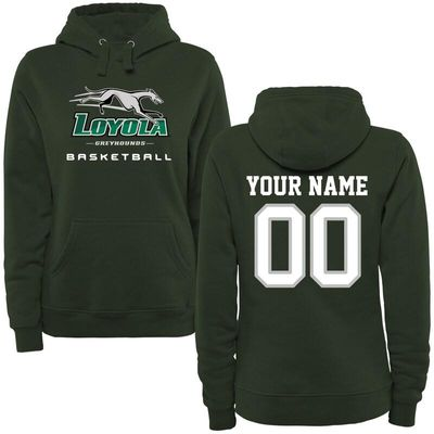 Loyola Greyhounds Women's Personalized Basketball Pullover Hoodie - Green