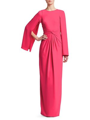 Theia Knotted Cape-Sleeve Gown
