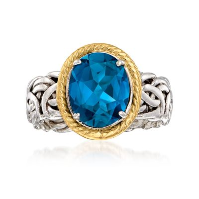 Ross-Simons London Blue Topaz Byzantine Ring in 14kt Yellow Gold and Sterling Silver