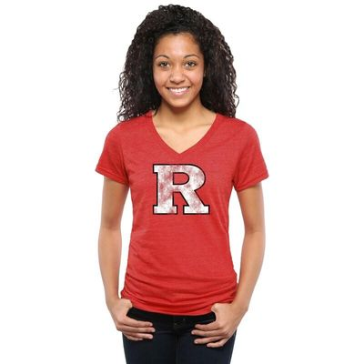 Rutgers Scarlet Knights Women's Classic Primary Tri-Blend V-Neck T-Shirt - Scarlet