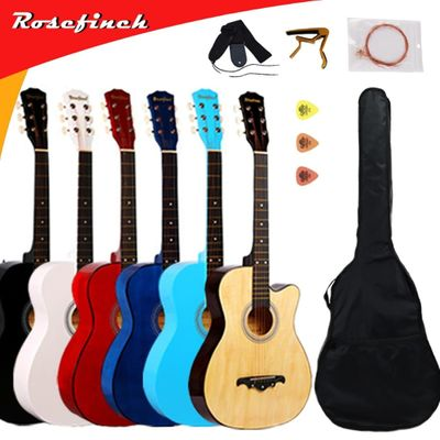 38/41 inch Guitar Folk Acoustic Guitar, 6 string Basewood Guitar with Backpack Pick Capo Strap, Beginners Guitarra AGT16