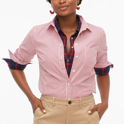 J.Crew Factory Button-up Stretch Cotton Poplin Shirt In Signature Fit