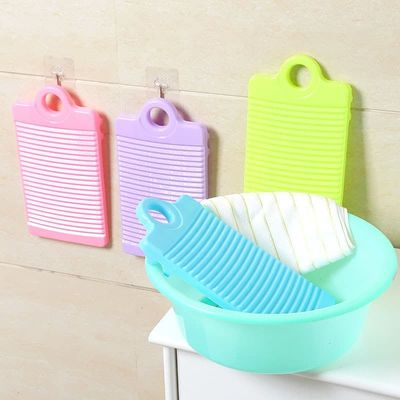 1pc Plastic Washboard Antislip Thicken Washing Board Clothes Cleaning For Laundry  Random Color Wholesale