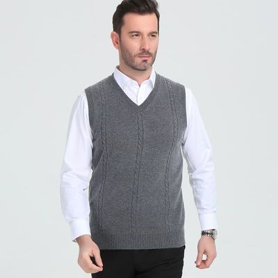Cashmere sweater men's V collar winter  vest fashion youth business casual knitted sweater coat brand
