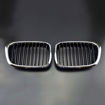 Brightness Front Chrome Black Grille Grill For 97-03 BMW E39 5-Series 525 530 535 540 M5