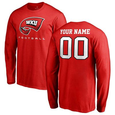 Western Kentucky Hilltoppers Personalized Football Long Sleeve T-Shirt - Red