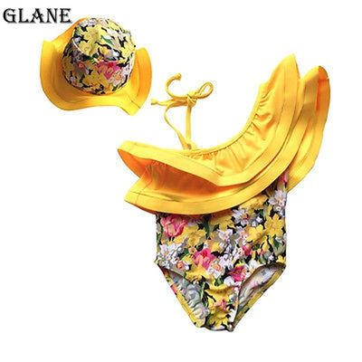 2019 New arrival Newborn Baby Girl Clothes Flower Jumpsuit Romper Bodysuit  Hat 2pcs Outfits bikini Set