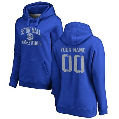 Seton Hall Pirates Women's Personalized Distressed Basketball Pullover Hoodie - Royal