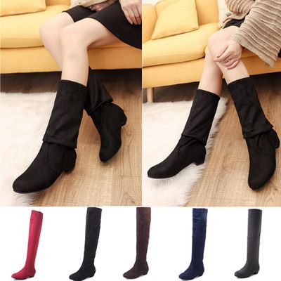 Fashion Casual Women's Boots 2019 Autumn And Winter New Pointed Thick Over The Knee Boots Elastic Boots Women's Shoes Footwear