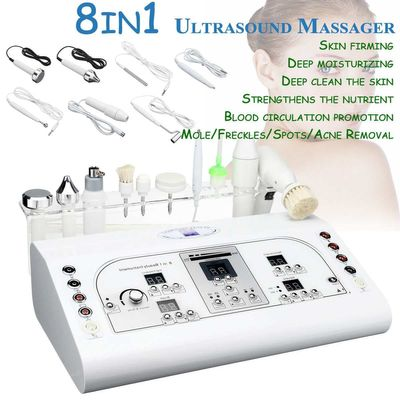 8 In 1 Ultrasonic Women Face Whitening Freckle Removal Ultrasound Anti Aging Facial Massage Machine Skin Care Beauty Instrument