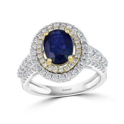 Effy Jewelry Blue Sapphire Halo Ring with Diamonds in 14K White & Yellow Gold, 2.74 TWC