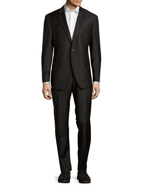 Saks Fifth Avenue Made in Italy Modern-Fit Solid Double-Vented Suit