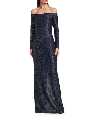 St. John Off-The-Shoulder Sequin Gown